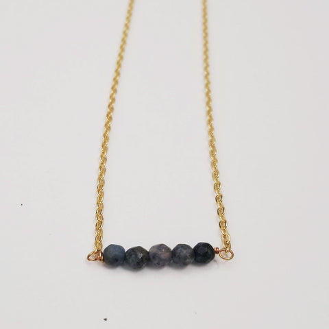 Dumortierite Dainty Bead Necklace