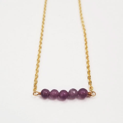 Lepidolite Dainty Bead Necklace