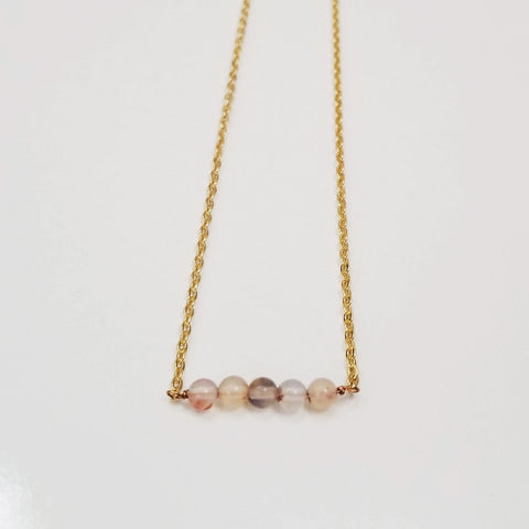 White Agate Dainty Bead Necklace