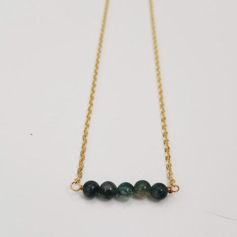 Moss Agate Dainty Bead Necklace