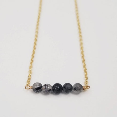 Black Tourmalinated Quartz Dainty Bead Necklace