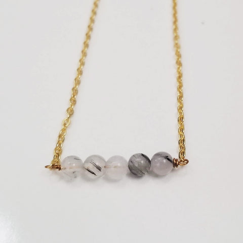 White Tourmalinated Quartz Dainty Bead Necklace