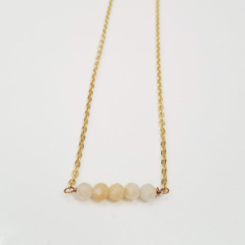 Yellow Jade Dainty Bead Necklace