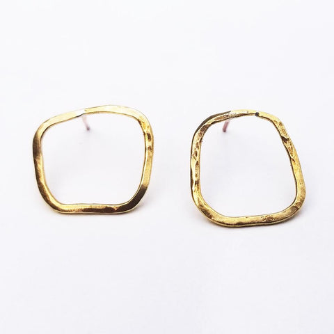 Dainty Geometric Earrings -Organic Square