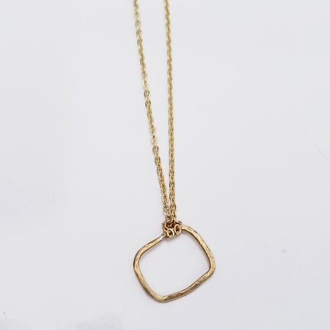 Dainty Geometric Necklace -Organic Square