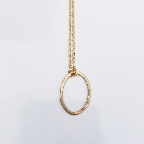 Dainty Geometric Necklace -Oval