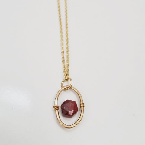 Apple Jasper Dainty Oval Necklace