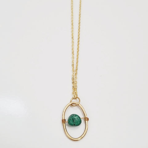 Chrysocolla Dainty Oval Necklace