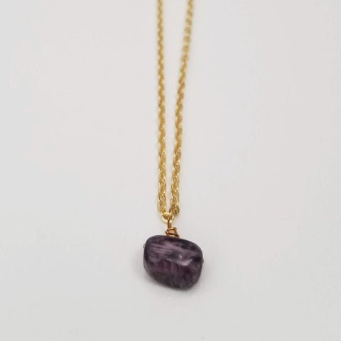 Charoite Drop Necklace