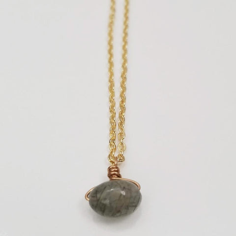 Green Rhutilated Quartz Drop Necklace