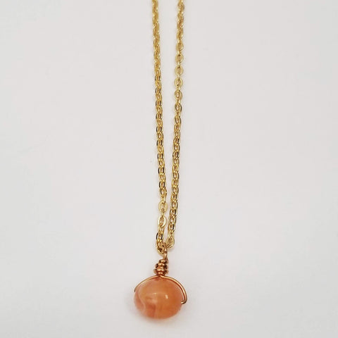 Orange Agate Drop Necklace