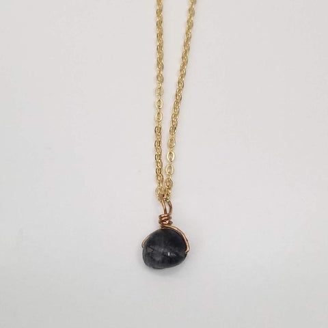 Black Tourmalinated Quartz Drop Necklace