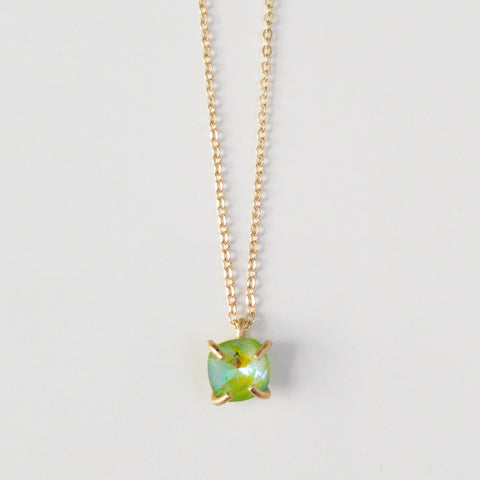 Green Prong Set Drop Necklace