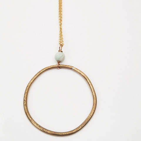 Long Amazonite Hoop Necklace