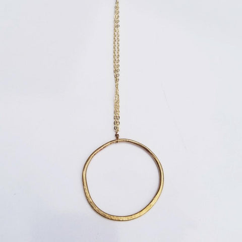 Long Geometric Necklace -Circle