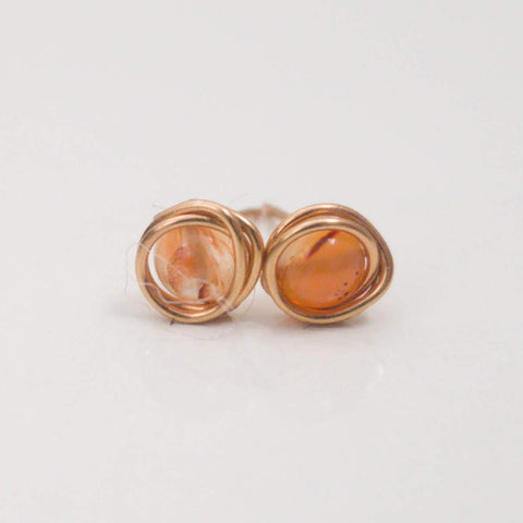 Orange Agate Mini Studs