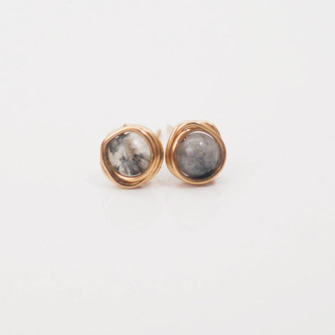 Black Tourmalinated Quartz Mini Studs