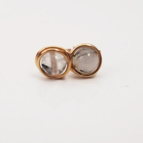 White Tourmalinated Quartz Mini Studs