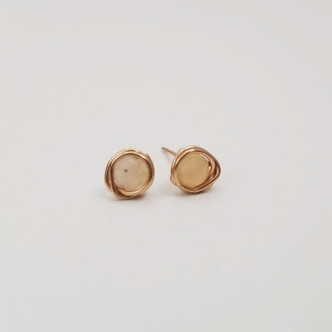 Yellow Jade Mini Studs