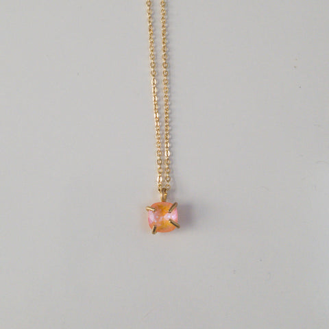 Orange Prong Set Drop Necklace