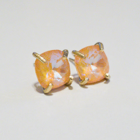 Orange Prong Set Studs