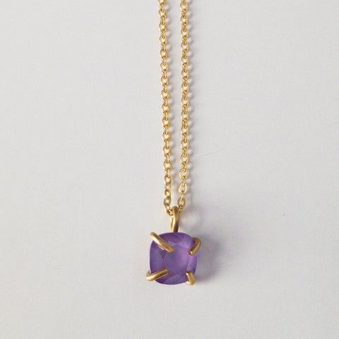 Purple Prong Set Drop Necklace