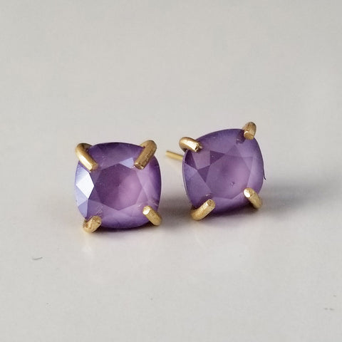 Purple Prong Set Studs