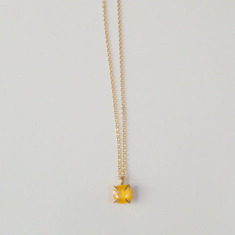 Yellow Prong Set Drop Necklace