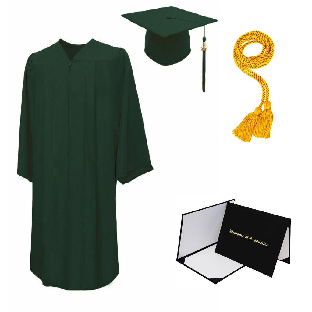 Matte High School Cap, Gown, Tassel, Honor Cord, Diploma Cover Package