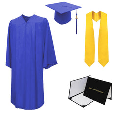 Matte High School Cap, Gown, Tassel, Stole, Diploma Cover Package