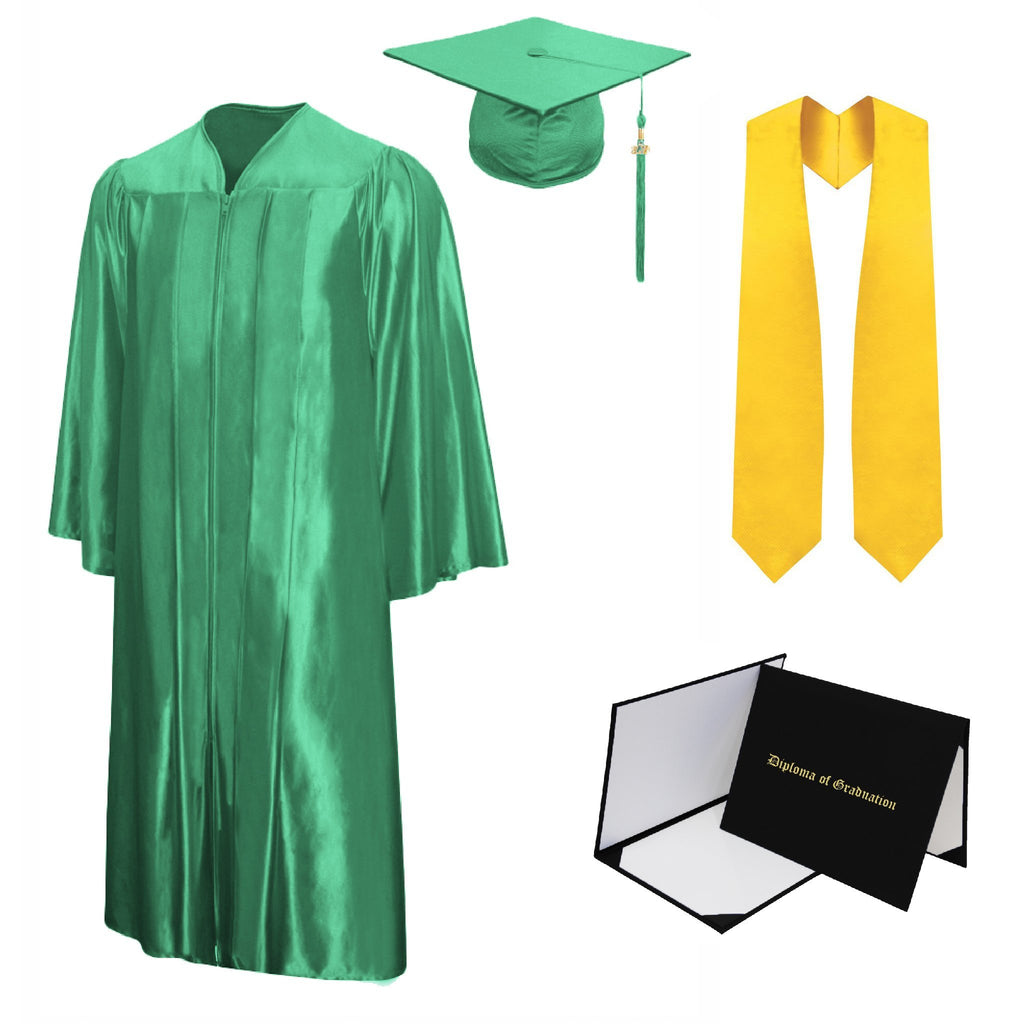 Shiny Bachelors Cap, Gown, Tassel, Stole, Diploma Cover Package