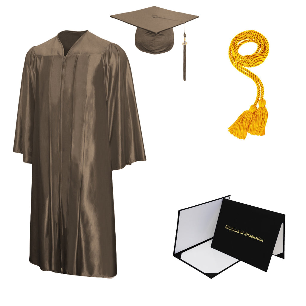 Shiny Bachelors Cap, Gown, Tassel, Honor Cord, Diploma Cover Package
