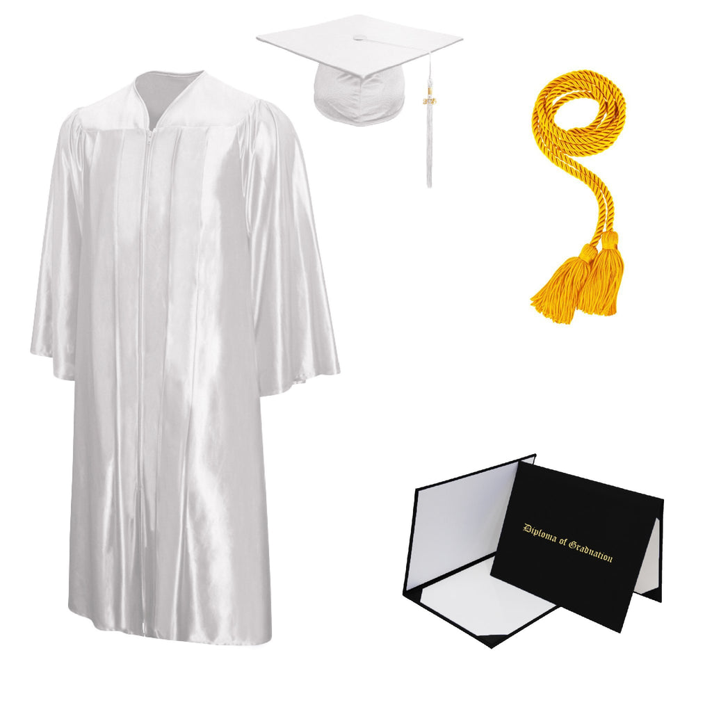 Shiny High School Cap, Gown, Tassel, Honor Cord, Diploma Cover Package
