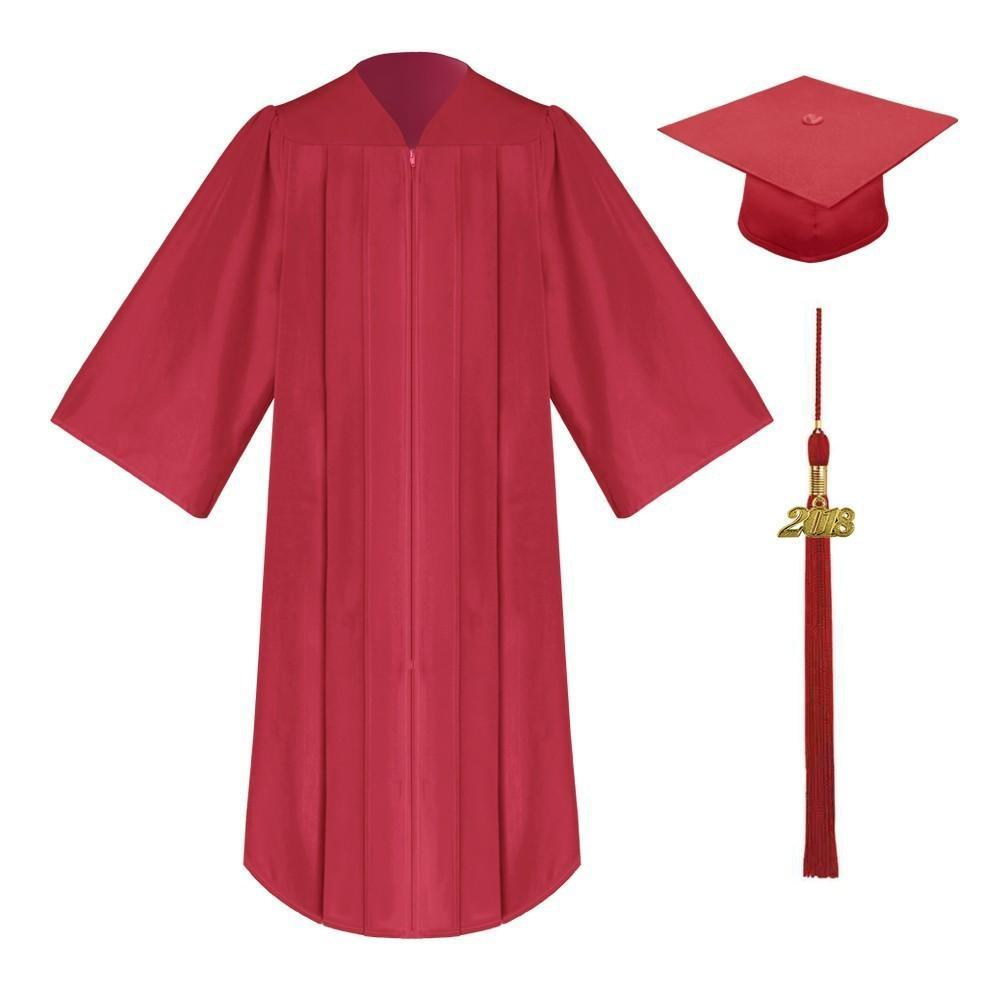 Matte Red High School Cap & Gown