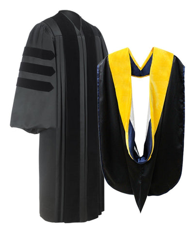 Deluxe Doctoral Graduation Gown & Hood Package - Graduation Cap and Gown