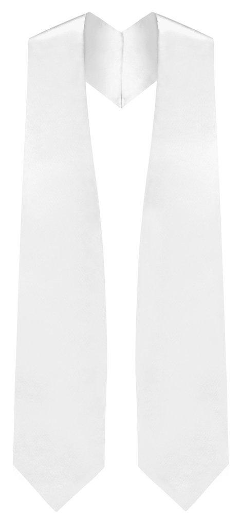 White Graduation Stole - White College & High School Stoles