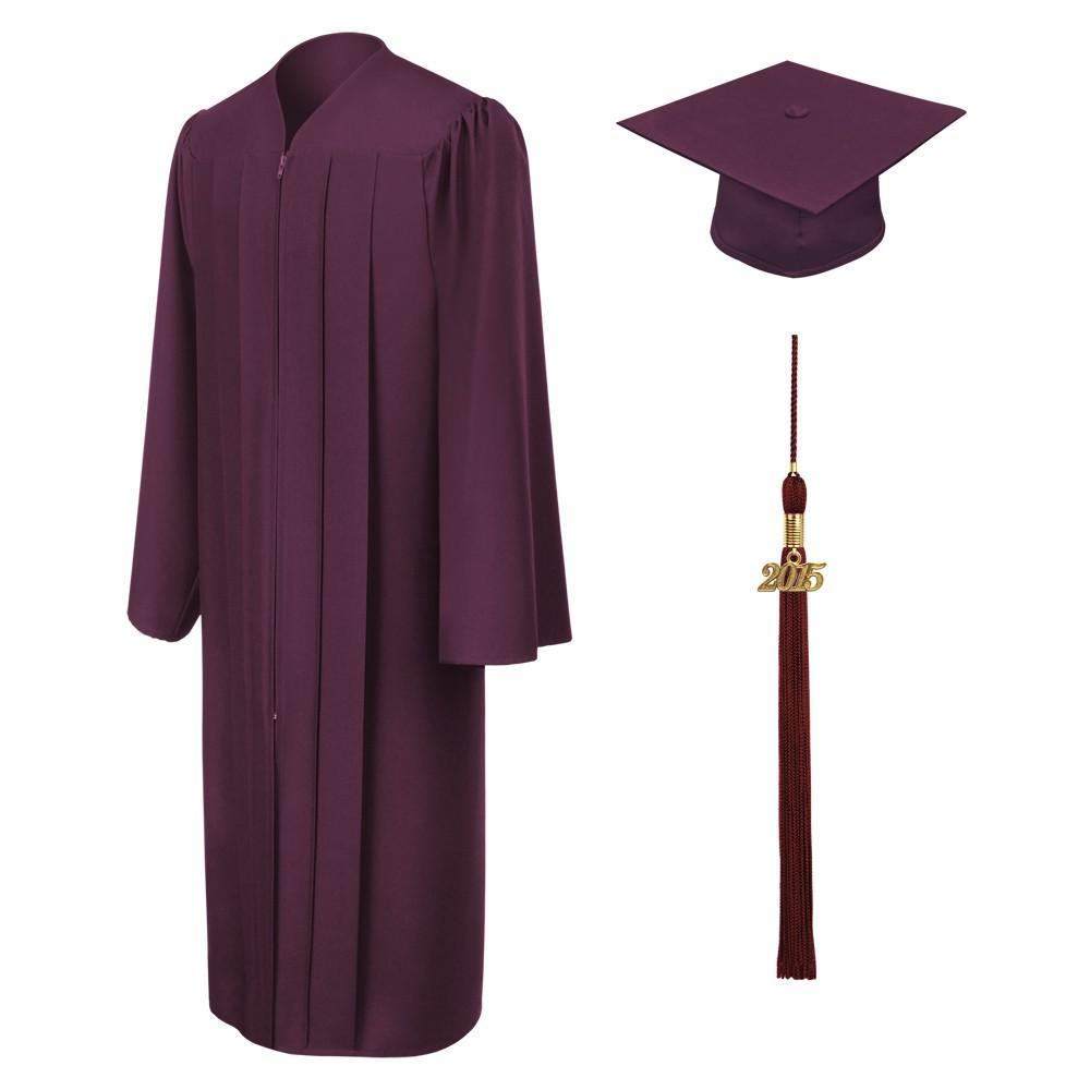 Matte Maroon High School Graduation Cap and Gown - Graduation Cap and Gown
