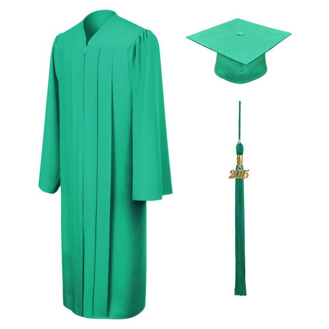 Matte Emerald Green Graduation Cap & Gown - Graduation Cap and Gown