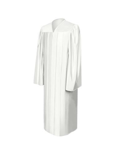 Shiny White Bachelors Graduation Gown - College & University - Graduation Cap and Gown