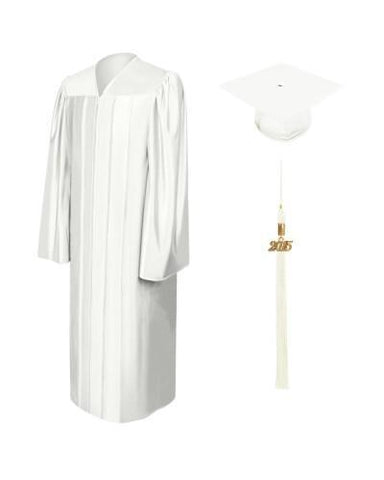 Shiny White High School Cap and Gown - Graduation Cap and Gown