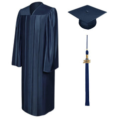 Shiny Navy Blue High School Graduation Cap and Gown - Graduation Cap and Gown