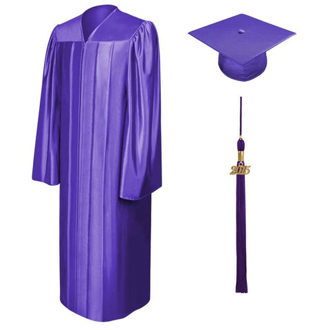 Shiny Purple Bachelors Cap & Gown - College & University - Graduation Cap and Gown