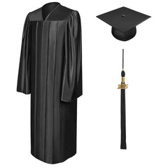 Shiny Black High School Graduation Cap & Gown - Graduation Cap and Gown
