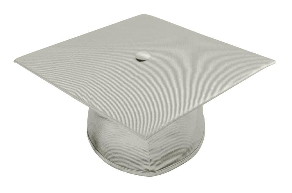 Shiny Silver Bachelors Graduation Cap - College & University - Graduation Cap and Gown