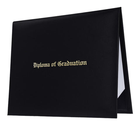 Black Imprinted Diploma Cover - High School Diploma Covers - Graduation Cap and Gown