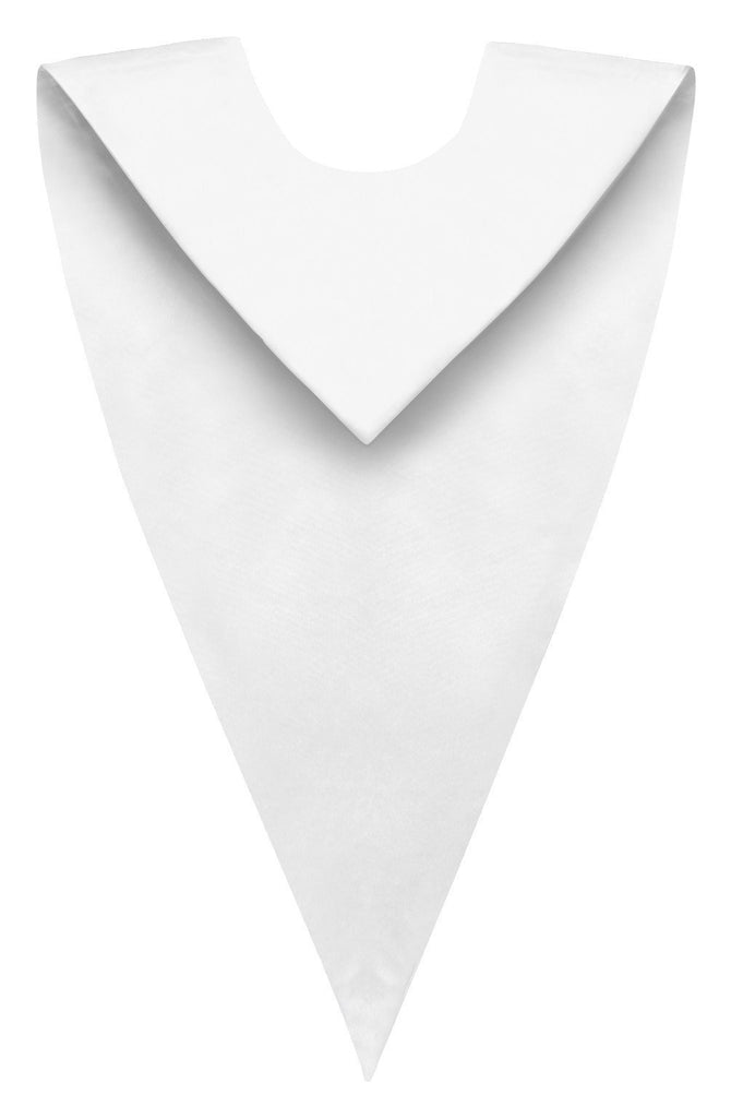 White Graduation V Stole - Graduation Cap and Gown