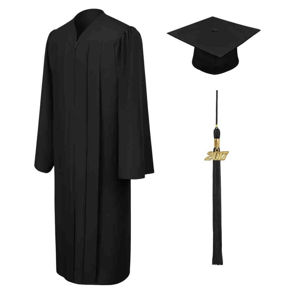 Matte Black High School Graduation Cap & Gown
