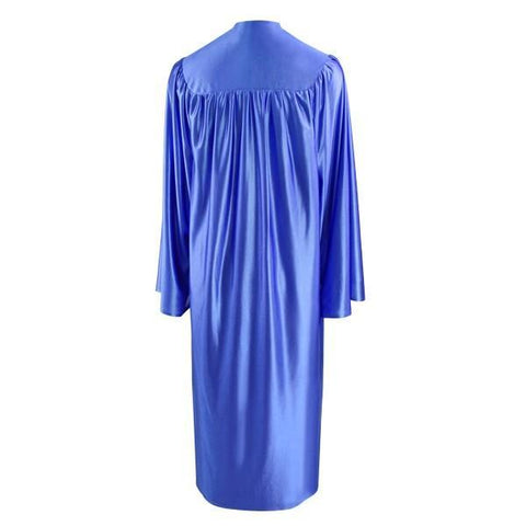 Shiny Royal Blue High School Graduation Gown - Graduation Cap and Gown