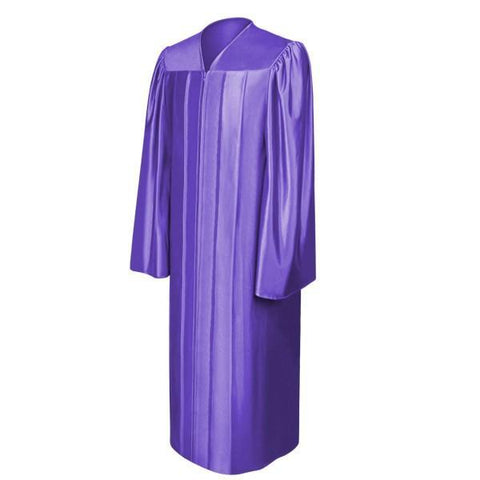 Shiny Purple High School Graduation Gown - Graduation Cap and Gown