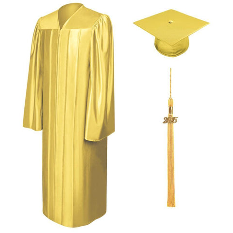 Shiny Gold Bachelors Cap & Gown - College & University - Graduation Cap and Gown